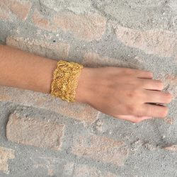 Gold Narrow Hand-Made Crochet Bracelet