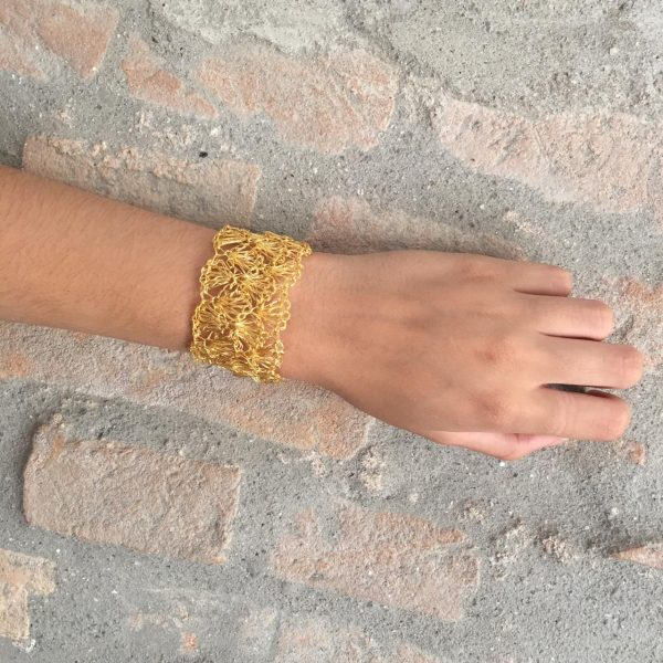 Gold Narrow Hand-Made Crochet Bracelet